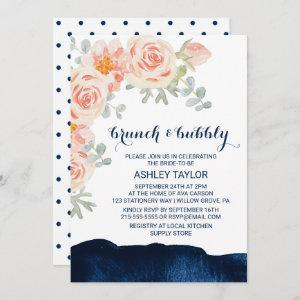 Floral and Navy Watercolor Brunch and Bubbly Invitation starting at 2.51