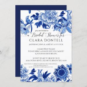 Floral Asian Influence Blue White Bridal Shower Invitation starting at 2.40