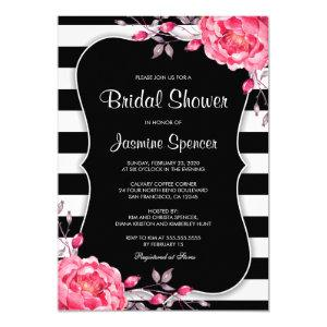 Floral Black And White Striped Bridal Shower Invitation starting at 2.65