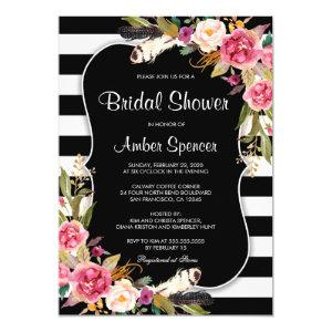 Floral Black White Stripe Boho Chic Bridal Shower Invitation starting at 2.65