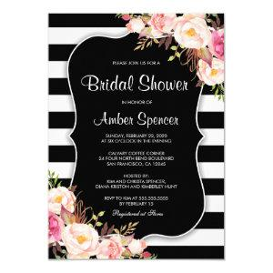 Floral Black White Stripe Bridal Shower Invitation starting at 2.65