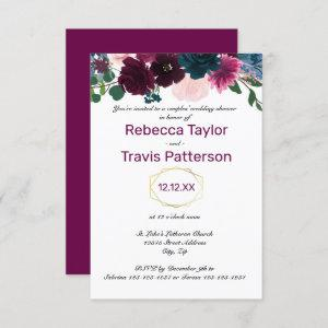Floral Blooms Plum - 3x5 Couples' Wedding Shower Invitation starting at 1.85