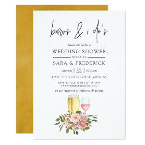 Floral Blush and Gold Brews Before The I Do's Invitation starting at 2.66