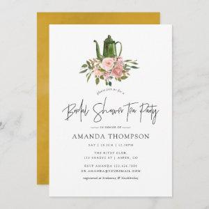 Floral Blush and Gold Bridal Shower Tea Party Invitation starting at 2.51