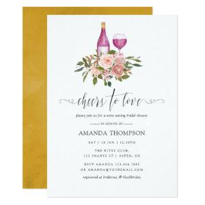 Floral Blush and Gold Bridal Shower Wine Tasting Invitation starting at 2.66