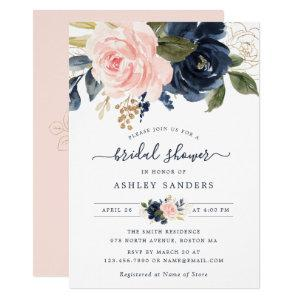 Floral Blush Navy Elegant Bridal Shower Invitation starting at 2.20