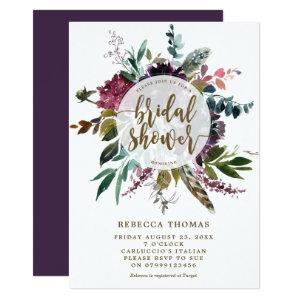 floral boho feathers bridal shower invitation starting at 2.56