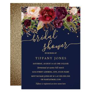 Floral Burgundy Navy Gold Confetti Bridal Shower Invitation starting at 2.40