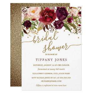 Floral Burgundy Red Gold Confetti Bridal Shower Invitation starting at 2.15