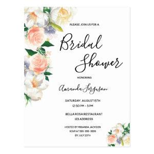 Floral coral rose gold Bridal Shower invitation Postcard starting at 1.20