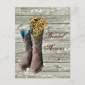 floral cowboy boots western country bridal shower invitation starting at 2.42