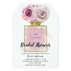 Floral Fashion Perfume Bottle Pink Roses Gold Glam Invitation starting at 3.07