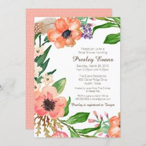 Floral & Feather Bridal Shower Invitation starting at 2.70