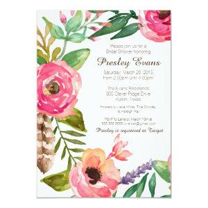 Floral & Feather Bridal Shower Invitation II starting at 2.71