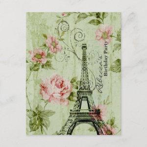 floral french Eiffel Tower Parisian birthday party Invitation starting at 2.42