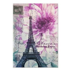 floral french Eiffel Tower Parisian birthday party Invitation starting at 2.32