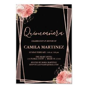Floral Girly Rose Gold Black Quinceanera Party Invitation starting at 2.06