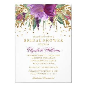 Floral Glitter Sparkling Amethyst Bridal Shower Invitation starting at 2.55