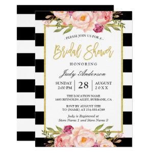 Floral Gold Black White Stripes Bridal Shower Invitation starting at 2.10