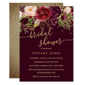 Floral Gold Burgundy Confetti Bridal Shower Invitation starting at 2.40