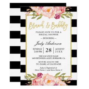 Floral Gold Modern Brunch and Bubbly Bridal Shower Invitation starting at 2.30