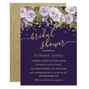 Floral Gold Purple Confetti Bridal Shower Invitation starting at 2.40