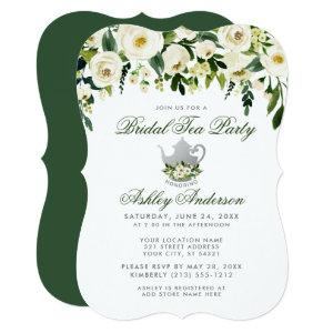 Floral Green Bridal Tea Party Silver Invite GB starting at 2.76
