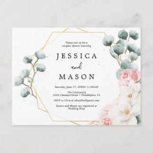 Floral Greenery Couples Shower Invitation Postcard starting at 1.10