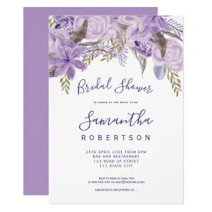 Floral lavender watercolor chic bridal shower invitation starting at 2.40