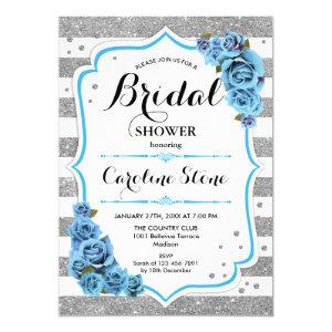 Floral Light Blue Silver Stripes Bridal Shower Invitation starting at 2.35