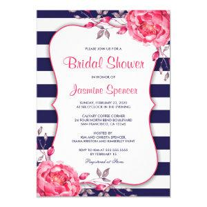 Floral Navy And Pink Stripe Bridal Shower Invitation starting at 2.65