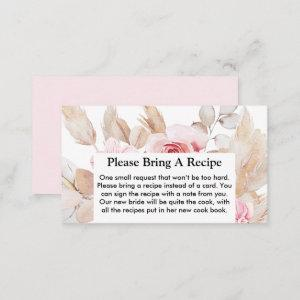 Floral Pampas Grass Bridal Shower Recipe Request Business Card starting at 22.15