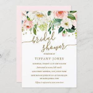 Floral Peach Pink Gold Confetti Bridal Shower Invitation starting at 2.40