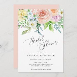 Floral Peach Watercolor Flowers Bridal Shower Invitation starting at 2.51