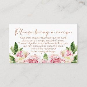 Floral Peonies Bridal Shower Recipe Card Request starting at 22.15