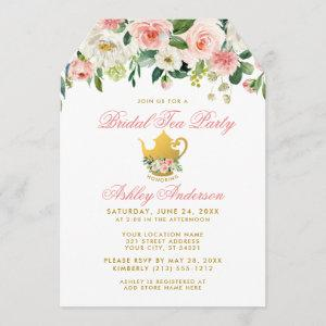 Floral Pink Bridal Shower Tea Party Invite Gold T starting at 2.76