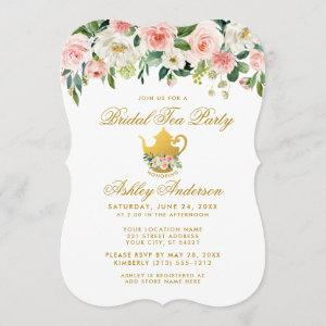 Floral Pink Gold Bridal Shower Tea Party Invite starting at 2.76