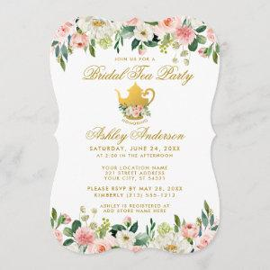 Floral Pink Gold Bridal Shower Tea Party Invite B starting at 2.76