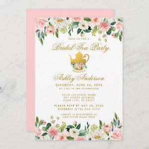 Floral Pink Gold Bridal Shower Tea Party Invite P starting at 2.51
