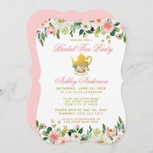 Floral Pink Gold Bridal Shower Tea Party Invite PB starting at 2.76