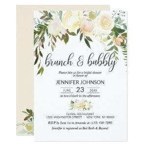 Floral Pink Ivory Brunch & Bubbly Bridal Shower Invitation starting at 2.45