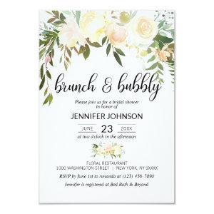 Floral Pink Ivory Brunch & Bubbly Bridal Shower Invitation starting at 2.05