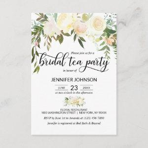 Floral Pink Ivory Cream Bridal Shower Tea Party Invitation starting at 2.05