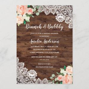 Floral Rustic Wood Lace Brunch And Bubbly Invitation starting at 2.40