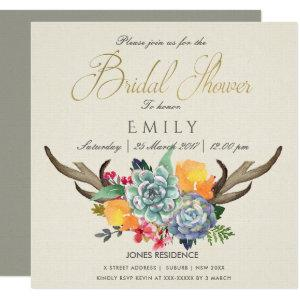 FLORAL SUCCULENT ANTLER BOHEMIAN ALLURE  SHOWER INVITATION starting at 2.55