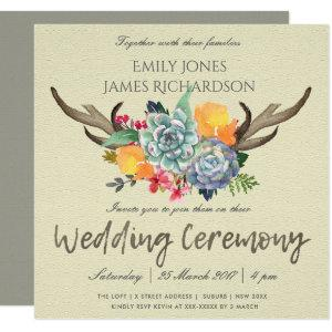 FLORAL SUCCULENT ANTLER BOHEMIAN ALLURE WEDDING INVITATION starting at 2.55