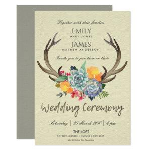 FLORAL SUCCULENT ANTLER BOHEMIAN ALLURE WEDDING INVITATION starting at 2.65