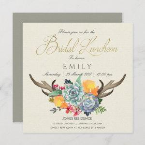 FLORAL SUCCULENT ANTLER BOHEMIAN BRIDAL LUNCHEON INVITATION starting at 2.55