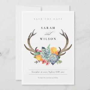 FLORAL SUCCULENT ANTLER BOHEMIAN  SAVE THE DATE starting at 2.46