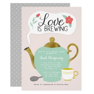 Floral Tea Party Bridal Shower Love Is Brewing Invitation starting at 2.40